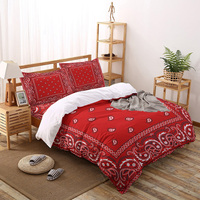 Hot Selling Red Southwestern Boho Printed Duvet Cover Set 4 Piece Bedding Set Home Textile Customizable