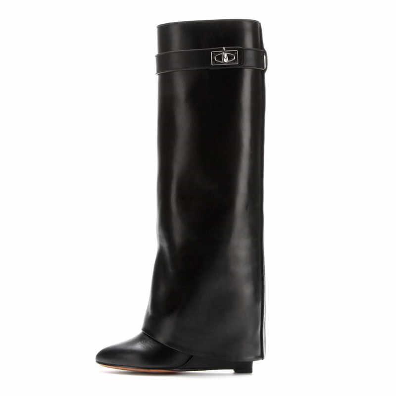 Shark Lock Women Wedge Boots Black Fold
