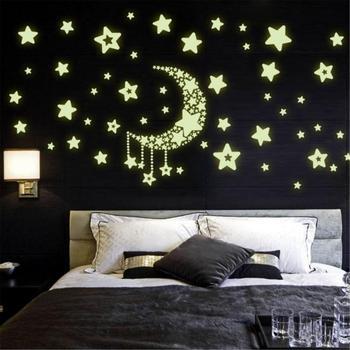 3D Звездная Луна светящаяся Наклейка Съемный Детский настенный стикер для детской спальни s светящийся в темноте флуоресцентный Настенный декор домашний декор