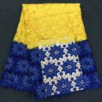 Factory offers high quality African Guipure cord Lace With heavier stones Fabric For Nigerian2020Party Dresses Yellow