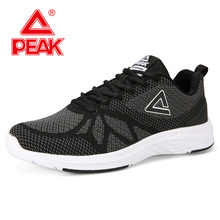 PEAK Men Running Shoes Breathable Mesh Knitting Sport Shoes Cushion Shock Absorption Sneakers Fitness Training Shoes