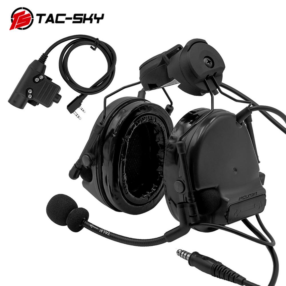 TAC-SKY Helmet Bracket Headset COMTAC III Silicone Earmuff Version Noise Reduction Pickup Tactical Headset BK+ Interphone U94PTT