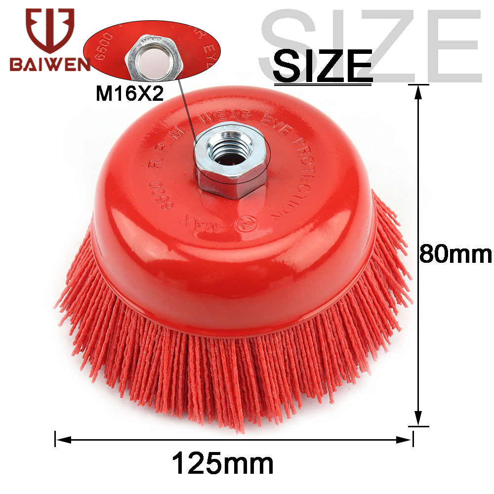 1 Piece 125mm M14 M16 Cup Nylon Abrasive Brush Wheel P80 Pile Polymer-abrasive 5 Inch Angle Grinder Rotary Tool