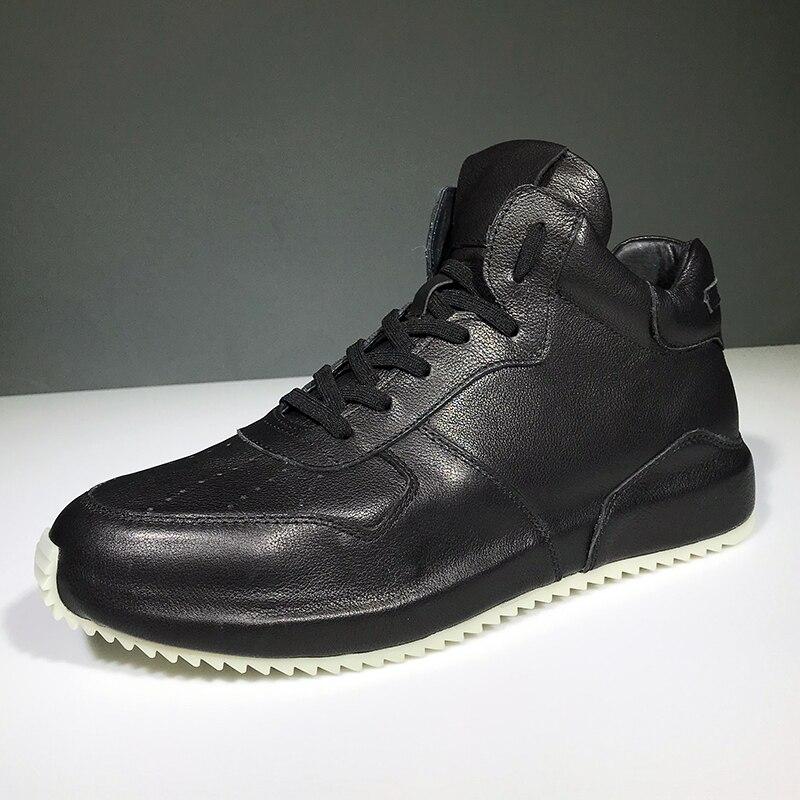 Повседневная мужская обувь с высоким берцем из высококачественной натуральной кожи; сезон осень зима; Мужские ботинки в британском ретро с... - 3