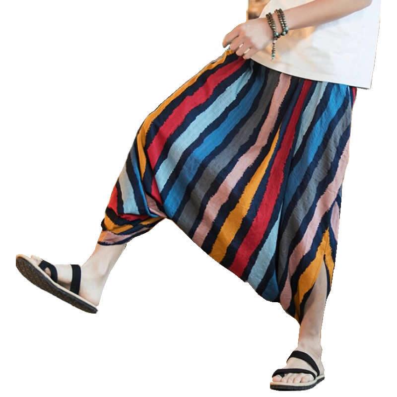 2020 Men Summer Wide Leg Pants Bloomers Joggers Casual Loose Harem Pants Big Cross-Pants Hip hop Men Indian Nepal Baggy Pants S-