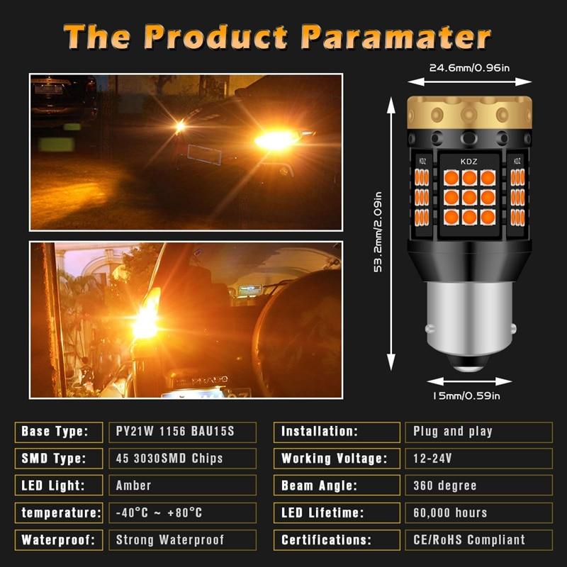 Image 5 - 2pcs NO Hyper Flash 1156 BA15S P21W BAU15S PY21W T20 7440 Led Bulb Turn Signal Light Lamps Amber Orange Canbus Error Free LedsSignal Lamp   -