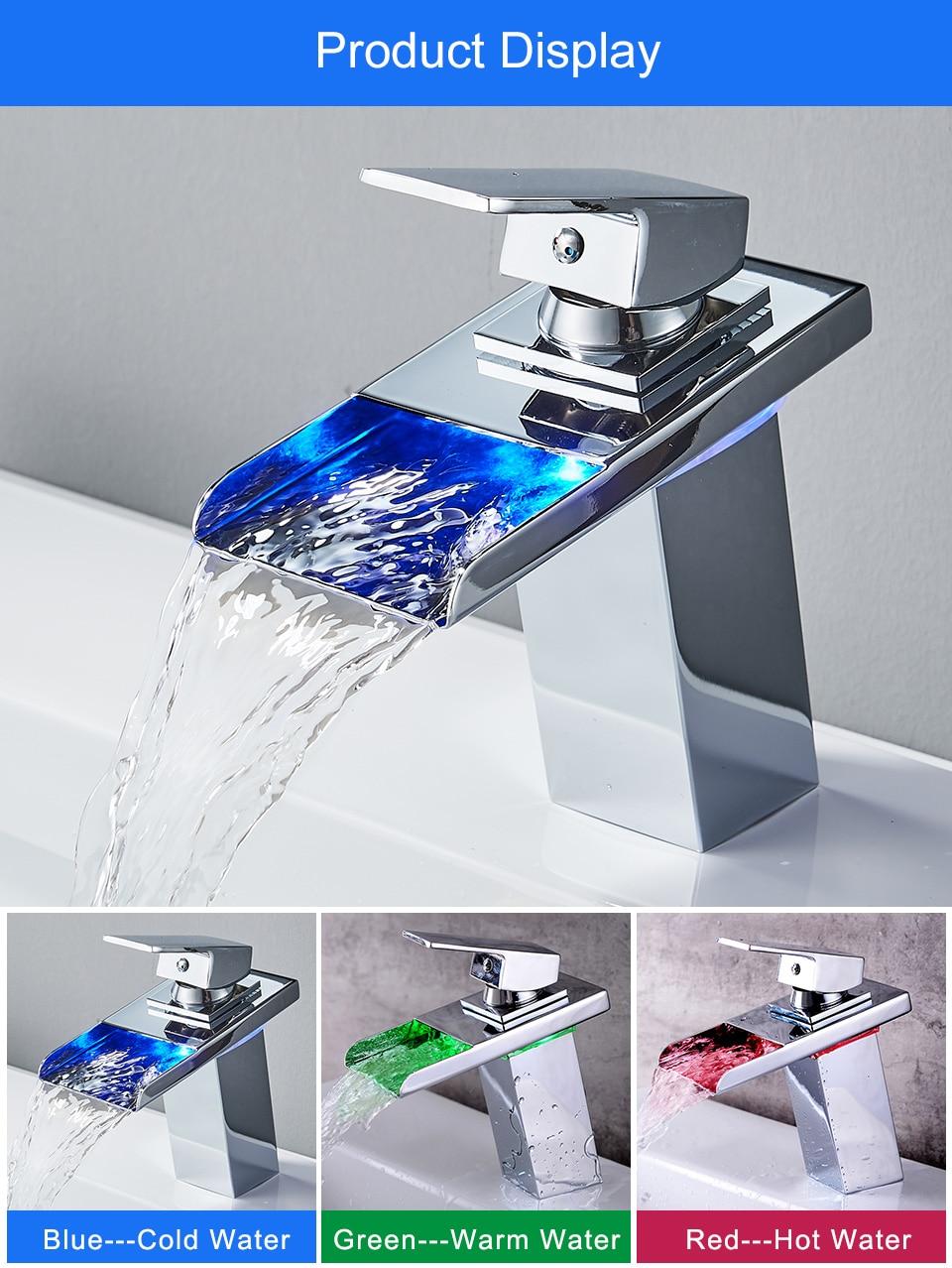 Hae200fa71590428ca35fd7a60b8dba25B ROVADE Bathroom LED Basin Faucet, Waterfall Bathroom Sink Tap Cold and Hot Mixer Crane (Chrome)