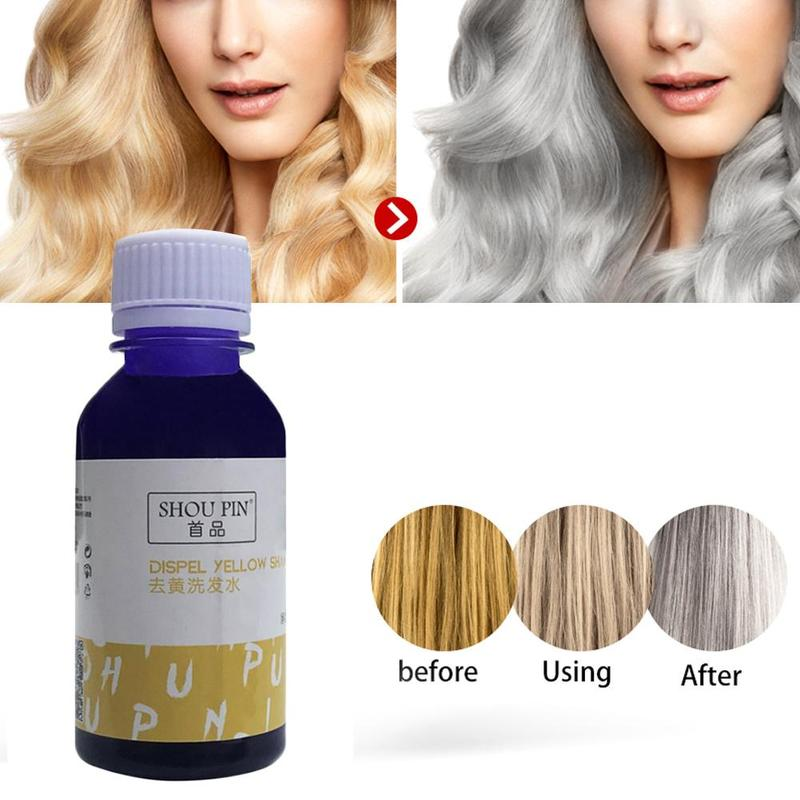 100ml Purple Shampoo Remove Yellow Anti Brassy Color No Yellow For Silver Blonde Bleached Gray Hair Toner Shampoo image