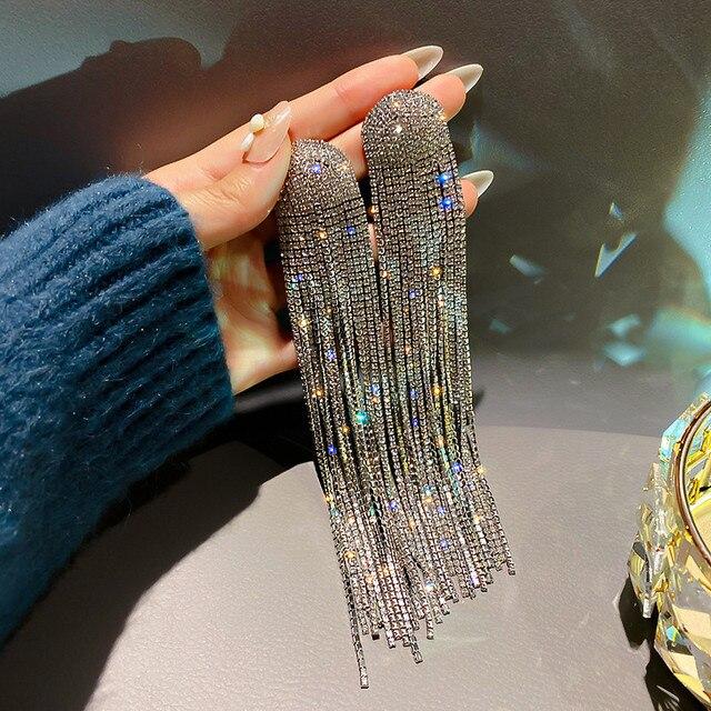 FYUAN Long Tassel Full Rhinestone Drop Earrings for Women Ovsize Crystal Dangle Earrings Fashion Jewelry Accessories 2