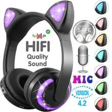 LED licht Kat Oren Noise Cancelling Hoofdtelefoon Bluetooth Kinderen Headset Ondersteuning TF Card 3.5mm Plug voor Telefoons Met Microfoon