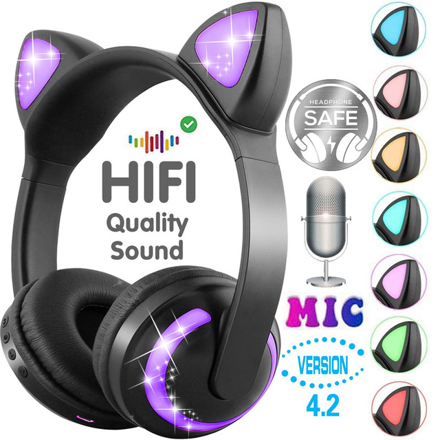 LED light Cat Ears Noise Cancelling Headphones Bluetooth  Kids  Headset Support TF Card 3.5mm Plug for Phones With Microphone