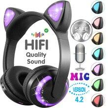 Lumière LED oreilles de chat suppression du bruit casque Bluetooth enfants casque Support TF carte 3.5mm prise pour téléphones avec Microphone