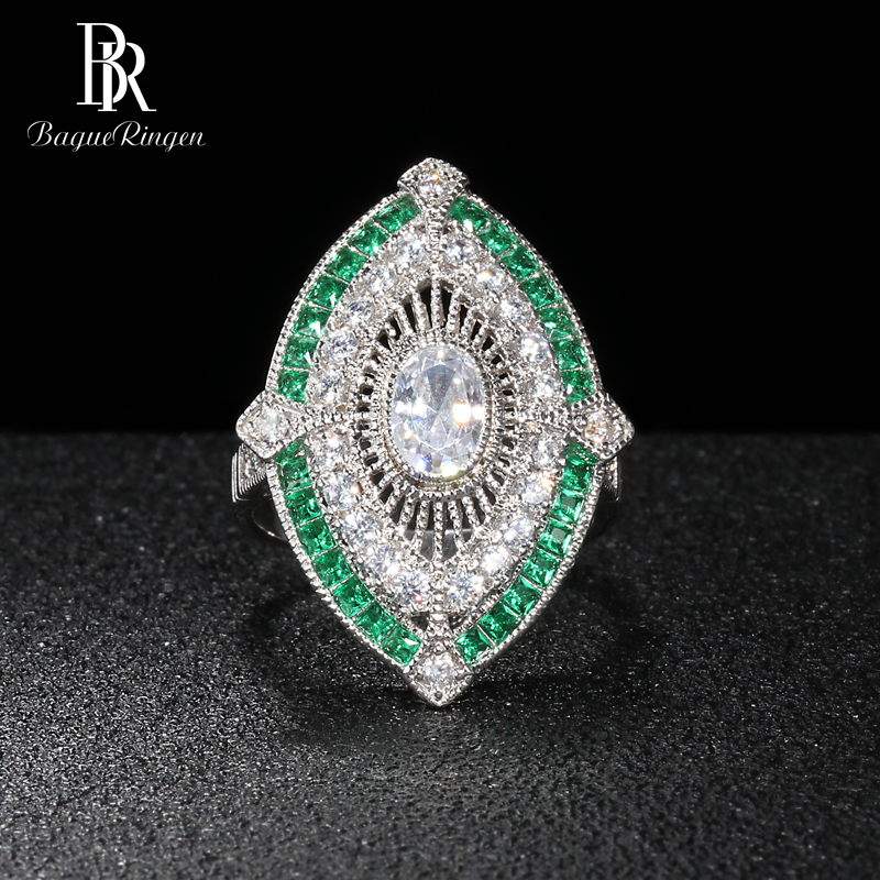Bague Ringen Vintage Luxury Silver 925 Jewelry Square Gemstones Ring For Women Crystal Emerald Banquet Female Gift Wholesale