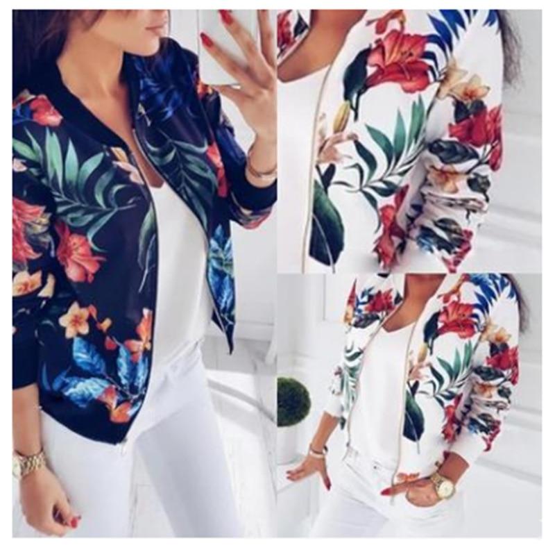 Hae205c1e2a8f4acc9e4fcc82d1fa041aW Woman Coat Plus Size Printed Bomber Jacket 2020 Women Pockets Zipper Long Sleeve Coat Female Flower Chiffon White Jacket Woman