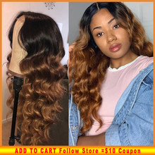 Colored Human Hair Wigs Ombre 1b/30 Deep Part 13X6 Lace Front Wig PrePlucked Baby Hair Loose Wave Brazilian Remy For Black Women(China)
