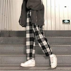 dropshipping Harajuku Plaid Pants For Women Trousers 2020 Streetwear Woman Harem Pants Autumn Ladies Causal Pants Plus Size