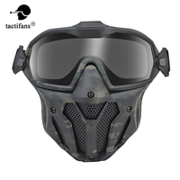 Tactical Mask Full Face Protective Airsoft Detachable Goggle With Anti-fog Fan System Motorcross Paintball Accessories