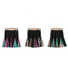 Women Lady Latin Dance Sequin Skirt Dress Salsa Tango Ballroom Rumba Dancewear 904-B045