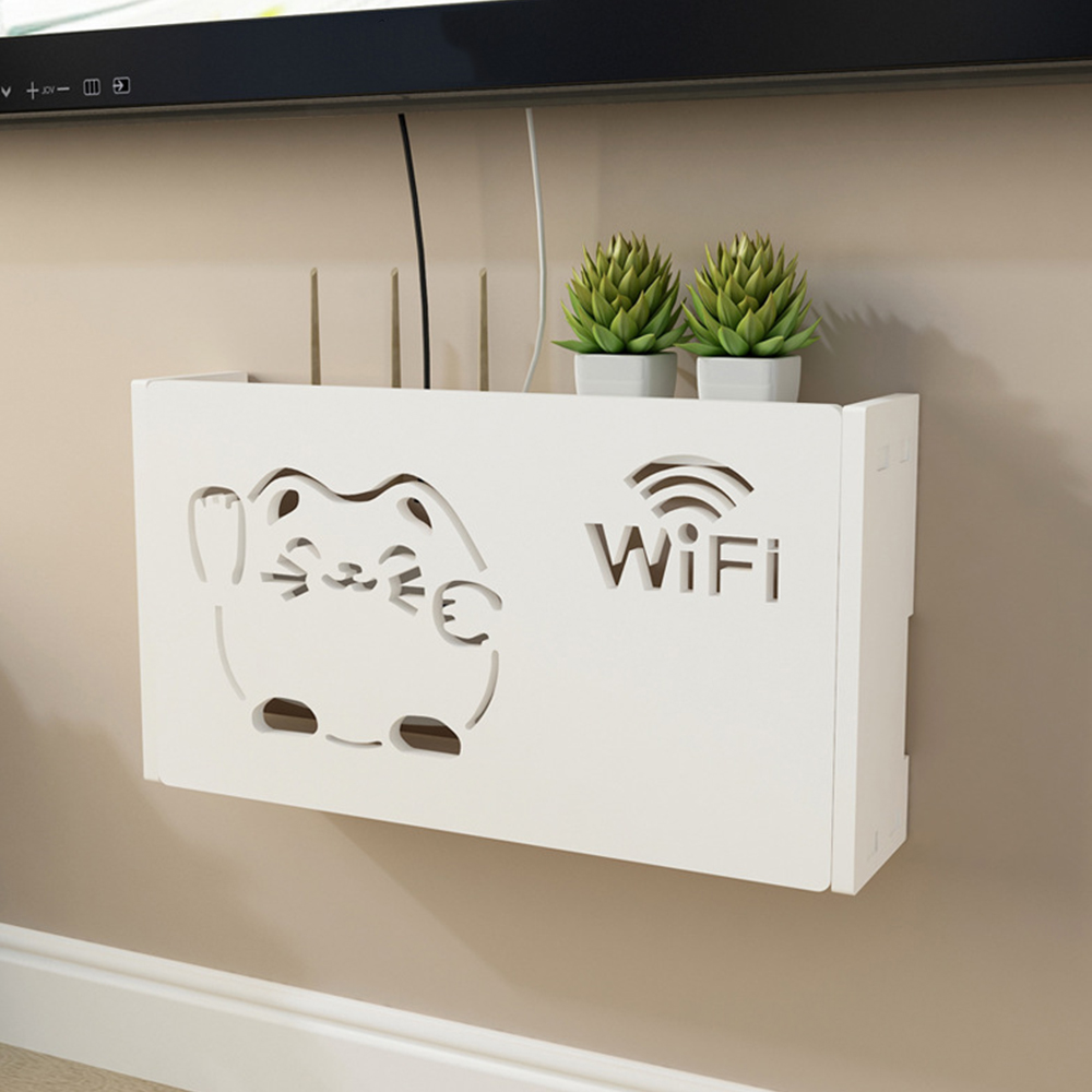 New Junejour White Wifi Router Storage Boxes Cable Power Plug Wire Wall Mounted  Shelf Storage Rack 1PC
