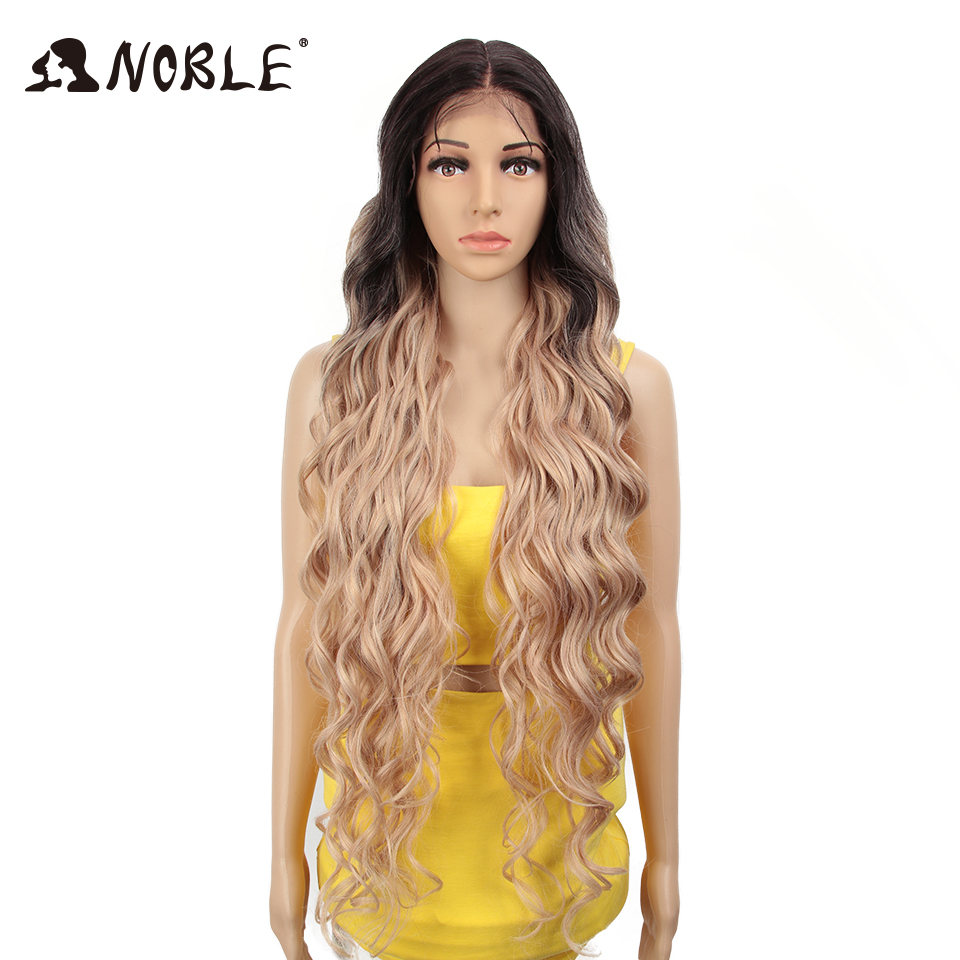 Image 2 - Noble Synthetic Lace Front Wig ombre blonde Wig 42 inch Pink american Long Deep wave Wig Cosply Synthetic Wigs For Black Women-in Synthetic None-Lace  Wigs from Hair Extensions & Wigs