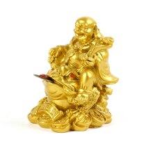 Gold resin sculpture Maitreya Buddha statue Qianbao riding Golden Toad