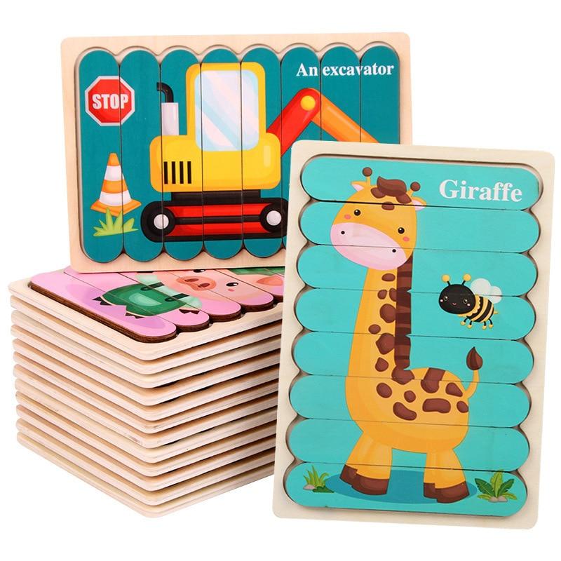 Дети животных головоломка Монтессори 3D двухсторонняя, с узором в полоску деревянные головоломки игрушки рассказать историю Развивающие деревянные головоломки для детей 3