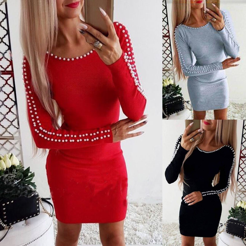 BGW Ever Pretty Round Neck Long Sleeve Red Cocktail Dress With Pearls Above Knee For Cocktail Party Plus Size Short Women Dress
