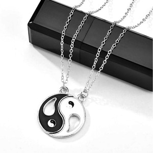 2 Piece Fashion Friendship Necklace Yin yang Pendant BFF Stitching Jewelry Best Friends Couple Necklaces Sets for Women Men Gift
