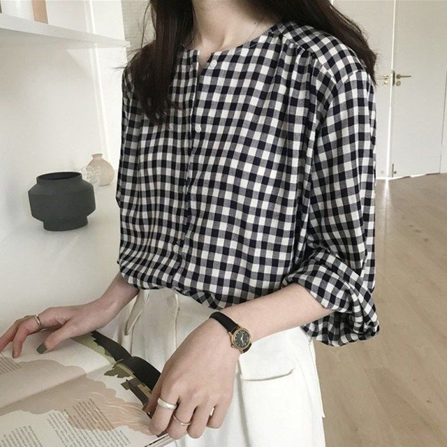 Simple Women Spring Summer Blouse Shirts Plaid Fashionable Single Breasted Casual Loose Wild Sweet Pink Tops 3