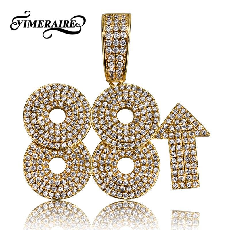 Numéro personnalisé 88 collier pendentif zircone glacé Bling Cz or argent collier Hip Hop pour hommes avec bijoux de chaîne de Tennis