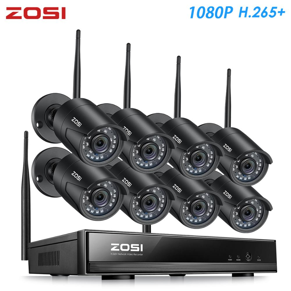 ZOSI H.265 1080P 8CH CCTV System NVR 2MP IR Udendørs P2P Wireless Wifi IP CCTV Camera Security System Surveillance Kit No HDD
