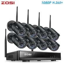 ZOSI H.265 1080P 8CH نظام الدائرة التلفزيونية المغلقة NVR 2MP IR في الهواء الطلق P2P اللاسلكية واي فاي IP كاميرا تلفزيونات الدوائر المغلقة نظام الأمن طقم مراقبة لا HDD