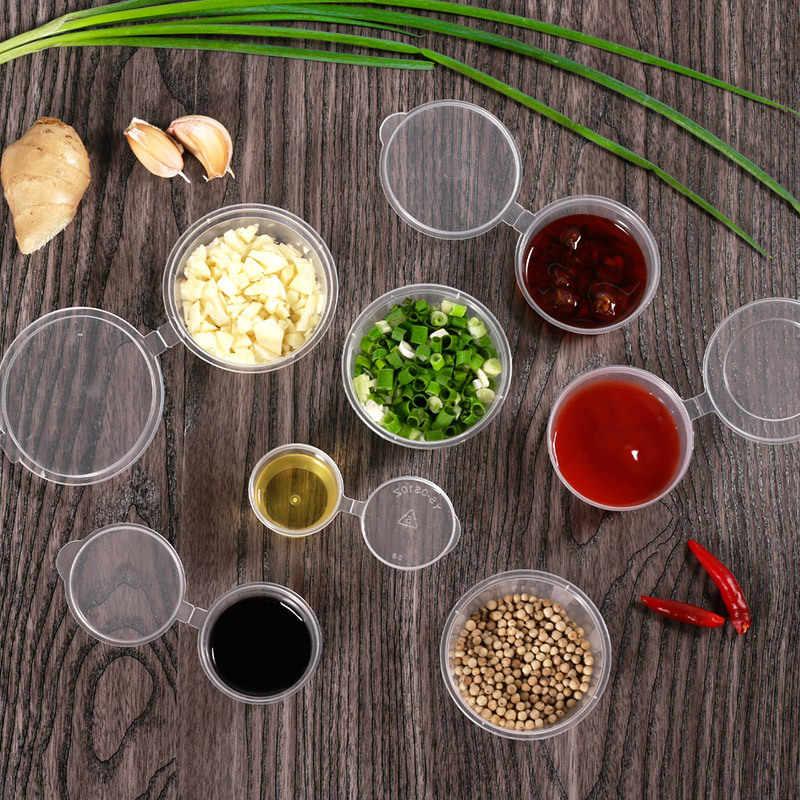 2 stücke Wiederverwendbare Sauce Tassen Kunststoff Klare Sauce Chutney Tassen Mit Deckel Outdoor Barbecue-Sauce Lagerung Container Picknick Sauce Tassen