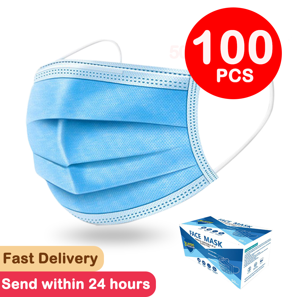 200 Pcs  Face Mask Mouth Mask 3-laye Non Woven Mascarillas Anti-Dust Disposable Mask Filter Dustproof Earloop 24 Hours Shipping