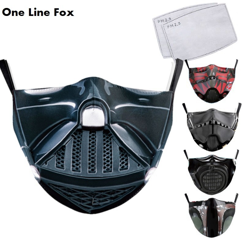 OneLineFox Funny Classic Movie Star War Cosplay Print Face Mask Adult Kid Washable Mask Fabric Reusable PM2.5 Filters Dust Proof