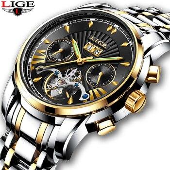 2019 LIGE Mens Watches Top Luxury Brand New Tourbillon Automatic Mechanical Watch Men Waterproof Skeleton Clock Montre Homme+Box