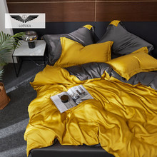 Lofuka Luxury 100% Silk Yellow Gray Bedding Set Nature Silky Beauty Quilt Cover Queen King Flat Sheet Pillowcase For Bed Set