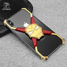 RIron Man Design Metal Case for Iphone X XS Personality Bumper Cover Max Anti-shock and shockproof