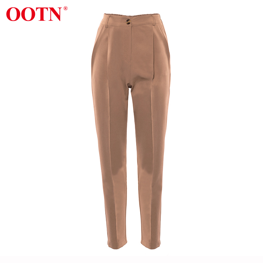 Hae2191e6da4b478fb91aa5cf96ed07b1y - OOTN Casual High Waist Khaki Pants Women Summer Spring Brown Ladies Office Trousers Zipper Pocket Solid Female Pencil Pants