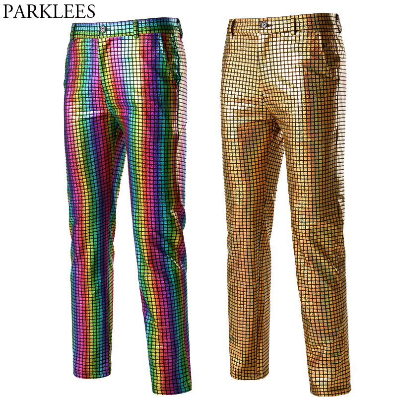 Rainbow Plaid Sequin Glitter Pants Men 70s Disco Party Dancer Singer Trousers Mens Nightclub DJ Stage Prom Pantalones Hombre 3XL