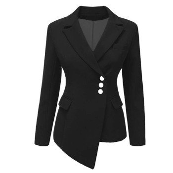 2019 Blazer Women Elegent Irregular Turn Down Collar Suit Blazers Single-Button Plus Size xxxl Candy Colors Long Jacket Female