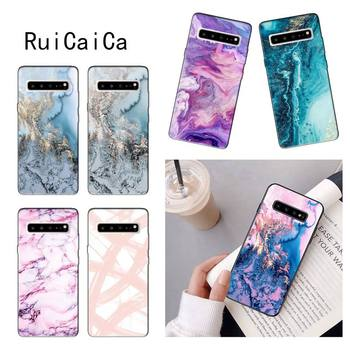 RuiCaiCa Blue Pink gold Marble Black Cell Phone Case for Samsung GALAXY S6 Edge S7 S7 Edge S8 S9 plus s20 s10 s20 ultra s10plus image