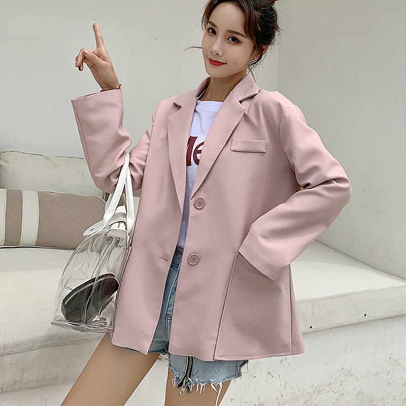 PEONFLY Fashion Ladies Blazer 2019 Casual Loose Solid Blazer Women Single Breasted Pocket Women Blazers And Jackets Pink Black