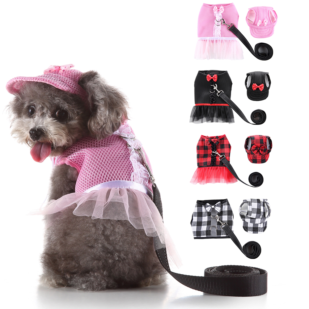 <font><b>Dog</b></font> Leash Vest Tulle Plaid <font><b>Dog</b></font> <font><b>Dress</b></font> Pet Outdoor Reflective Leash And <font><b>Harness</b></font> Vest Set pet rope Pet Hat D35 image