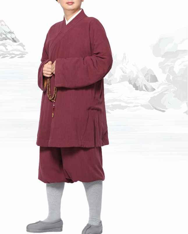 Unisex lino y algodón invierno cálido lohan Arhat trajes kung fu artes marciales uniformes zen traje shaolin monje ropa budista marrón