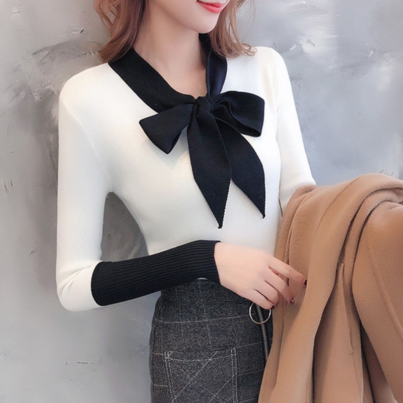 Office Lady Sweater Women Sweet Bow Solid V-Neck Sweater Pullovers Fashion Patchwork Knitted Female Tops H
