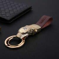 Ehrlich Männer Frauen Auto Schlüssel Kette High-Grade LED Beleuchtung Nach Gravierte Schlüsselanhänger Leder Seil Schmuck Schlüssel Ring Beste geschenk für Männer