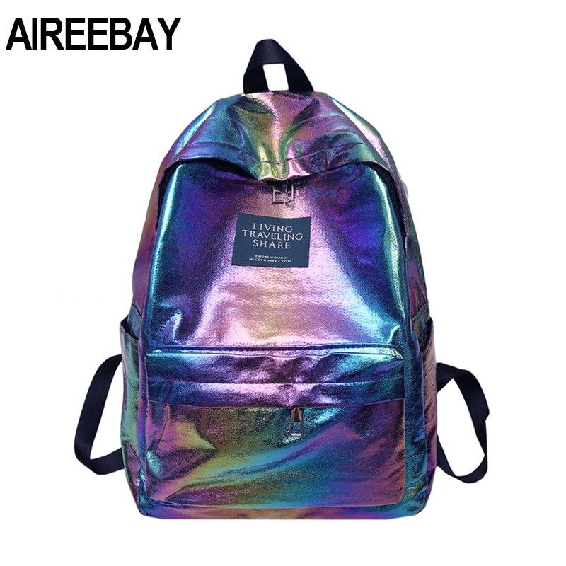 AIREEBAY Hologpraphic Women Backpacks Gradient Color School Bags For Teenage Girls Pink Waterproof Travel Bag Bagpack Rucksack