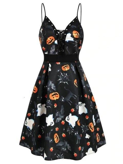 BacklakeGirls Sexy V Neck Spaghetti Strap Dress For Cocktail Party Halloween Bat Devil Pattern Printing Vestido Coctel Corto