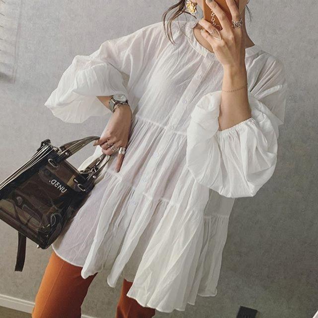 White Lantern Sleeve Blouses Women 2021 Autumn Sweet Pleated Female Shirts Tops Korean Janpanese Lady Office Blouse Shirts 3